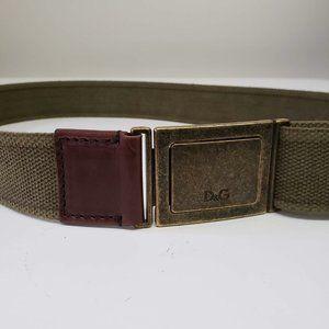 Dolce&Gabbana Canvas Adjustable Army Belt - Green
